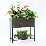 C-Hopetree Wicker Plant Stand Indoor Outdoor Raised Rectangular Planter Box, Elevated Flower Pot Stand Holder with Shelf, Black Metal Frame, Hand Woven