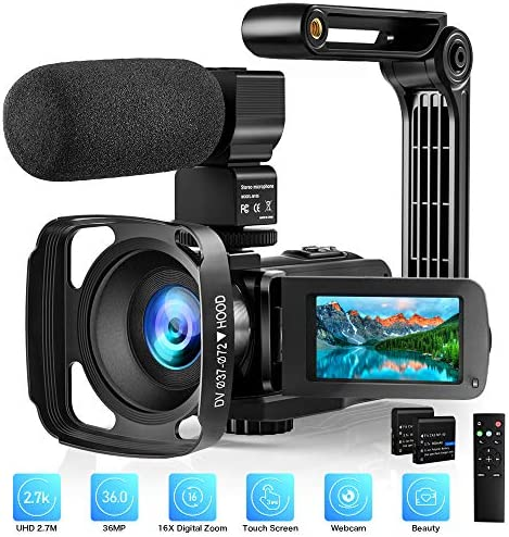 Video Camera with Microphone 2.7K Camcorder HD 36MP/30FPS YouTube Vlogging Camera IR Night Vision 16X Digital Zoom Digital Recorder with 3.0″ IPS Touch Screen, Remote Control, Handheld Stabilizer