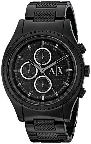 519IQY01hCL Black stainless steel watch with silver-tone contrasts featuring perforated dial center, logo at 3 o'clock, and three subdials 45 mm stainless steel case with mineral dial window Quartz movement with analog display