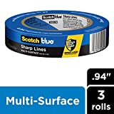 """Scotch Painter's Tape 2093EL-24CVP Trim + BASEBOARDS Painters Tape, 0.94"""" Width, Blue"""