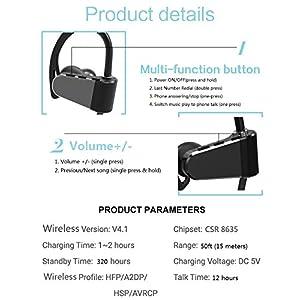 Best Bluetooth Headphones, Best Wireless Sports Earphones w/ Mic IPX7 Waterproof HD Stereo In Ear Earbuds for Gym 12 Hour Play Talk 320 Hours Standby Battery 50ft Range Noise Cancelling 2018 Release