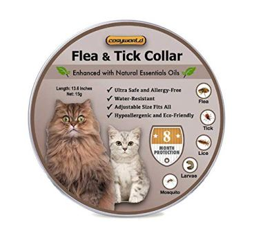 COSYWORLD Cats Flea and Tick Collar - 8 Months Protection for Cats and Kittens - Waterproof, Adjustable, Hypoallergenic and Ultra Safe Insect Repellent with Natural Essential Oils