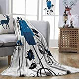DILITECK Heels and Dresses Anti-Pilling Blanket Mannequin in Tailors Shop with Blooming Flower Retro Classical Easy to Clean Blue Black White W93 xL71