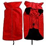 JoyDaog Fleece Lined Warm Dog Jacket for Winter Outdoor Waterproof Reflective Dog Coat Red M