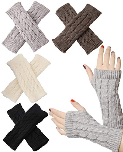 FIBO STEEL 4 Pairs Women Winter Warm Knit Fingerless Gloves Hand Crochet Thumbhole Arm Warmers Soft