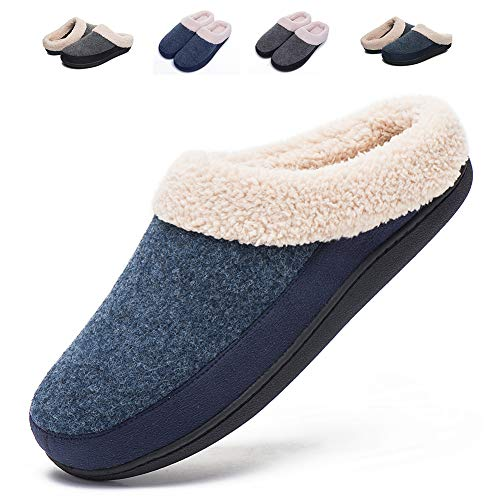 Mens Indoor Clog House Slippers- Felt Upper, Plush Fleece Lining and Sock, Memory Foam Insole, Anti-Slip Outsole (Medium / 8-9,Light Blue/Navy)