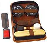 Deluxe Shoe Care Kit - Genuine 100% Horsehair Brush, 2 Durable Applicator Sponges, 2 Full-Size Tins of Black & Neutral Polish (45g each), Shoehorn/Suit Brush, Buffing/Shining Cloth, PU Leather Case