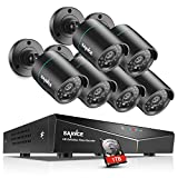 SANNCE 8CH Full 1080N DVR Security Camera System with 1TB Hard Drive and (6) 720P Night Vision Surveillance Cameras, IP66 Weatherproof, QR Code Scan Remote Access