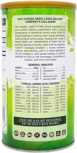 Great Lakes Gelatin, 4 Pk Collagen Hydrolysate 16 - Ounce Cans and by The Cup Shaker Combo 4