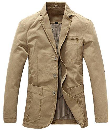 chouyatou Men's Casual Three-Button Stripe Lined Cotton Twill Suit Jacket (X-Large, Khaki)