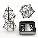 Magnetic Building Blocks, 63pcs Magnet Construction Set Magnetic Stick and Building Blocks Fidget Toy Sets Metal Puzzle Desk Office Toy Game for Kids and Adults