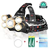 Newest Headlamp Flashlight,12000 Lumen Brightest LED Work Headlight USB Rechargeable,4 Modes Waterproof Zoomable Head Lamp Best Head Lights for Outdoors Camping Hunting Hiking Cycling Hard Hat