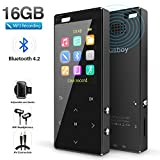 MP3 Player, 16GB MP3 Player with Bluetooth 4.2, MP3 Direct Recording, Hi-Fi Lossless Sound Music Player with FM Radio/Voice Recorder, Pedometer,with an Armband, Support up to 128gb TF Card, Black