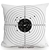 AngelDOU Decorative Cotton Linen Pillowcase with core,Target Numbers and Bullet Holes Shooting Polygon Gun Training Illustration,Sofa Bedroom Car Eco-Friendly Pillow Cushion.23.6x23.6 inches