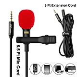 PoP voice Lavalier Lapel Microphone, Omnidirectional Condenser Mic for Apple iPhone iPad Mac Android Smartphones, Youtube, Interview, Studio, Video, Recording Mic,6 Wind Muffs+8 Ft Extension Cable