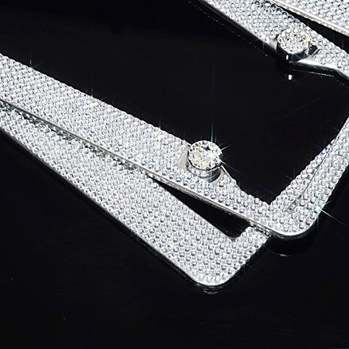 H C Hippo Creation 2 Pack Handcrafted Bling Crystal Premium Stainless Steel License Plate Frame (Crystal)