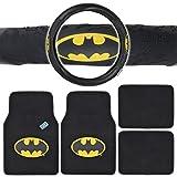 Batman Auto Accessories Interior Kit - Front & Rear Carpet Floor Mats, Steering Wheel Cover