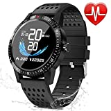 Fitness Tracker with Heart Rate Blood Pressure Monitor, Activity Tracker Watch with Pedometer, Sleep Monitor, Round Face Smart Watch for Women, Men, Kids(Black)