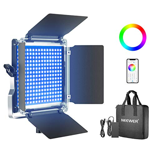 Neewer-480-RGB-Led-Light-with-APP-Control-480-SMD-LEDs-CRI953200K-5600KBrightness-0-1000-360-Adjustable-Colors9-Applicable-Scenes-with-LCD-ScreenU-BracketBarndoor-Metal-Shell-for-Photography
