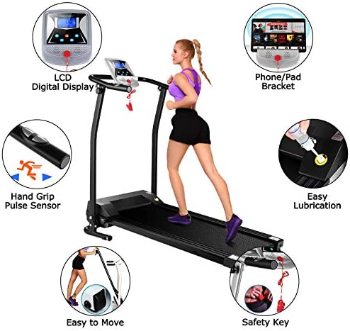 Mauccau Folding Treadmill for Home, Electric Treadmills with LCD Display Exercise Fitness Trainer Walking Running Machine 4