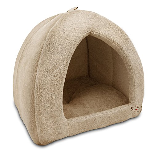 Best Pet Supplies Coral Fleece Tent for Pets, Tan - Large