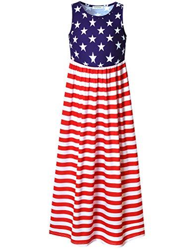 Perfashion Big Girls Star Stripes Maxi Dress 4th July Sleeveless Cotton USA Flag Outfits