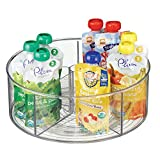 mDesign Divided Lazy Susan Turntable Storage Container for Kitchen Cabinet, Pantry, Refrigerator, Countertop - BPA Free, Food Safe - Spinning Organizer for Kids/Toddlers - 5 Sections - Clear