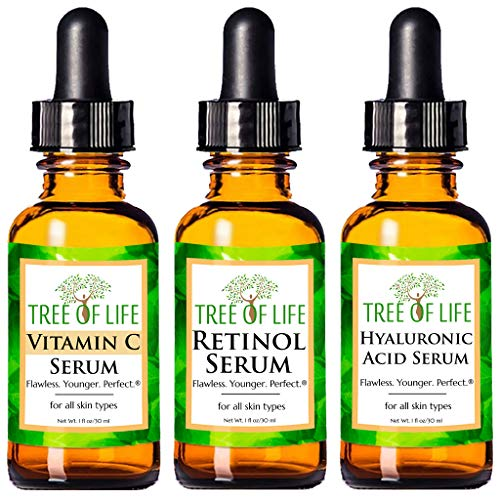 Anti Aging Serum 3-Pack for Face - Vitamin C Serum, Retinol Serum, Hyaluronic Acid Serum - Face Serum Full Regimen 3