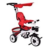 Costzon 4-in-1 Kids Tricycle Steer Stroller Toy Bike w/Canopy Basket (Red & White)