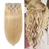 Double Weft 100% Remy Human Hair Clip in Extensions 10''-22'' Grade 7A Quality Full Head Thick Thickened Long Soft Silky Straight 8pcs 18clips(14' / 14 inch 120g,#24 Natural Blonde)