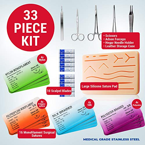Suture Observe Equipment for Suturing Coaching: Superior 30 Piece Suture Equipment with Giant Pre-Minimize Silicone Wound Suture Pad, Suturing Instruments, four Varieties Threads & Storage Case – Medical Coaching Surgical Sutures deal 50% off 519aWM4UJIL