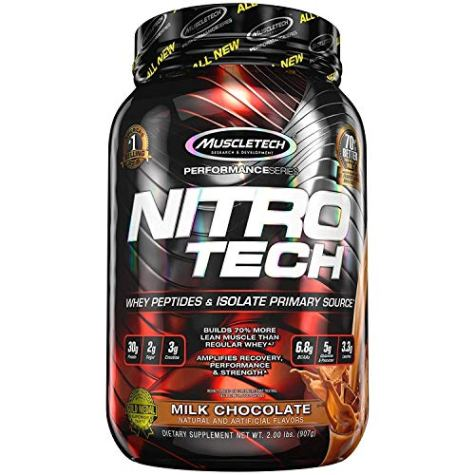 Muscletech Performance Series Nitrotech Whey Protein Peptides & Isolate (30g Protein, 2g Sugar, 3g Creatine, 6.8 BCAAs, 5g Glutamine & Precursor, Post-Workout) – 2lbs (907g) (Milk Chocolate)