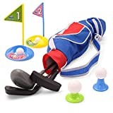 EXERCISE N PLAY Deluxe Happy Kids/Toddler Golf Clubs Set Grow-to-Pro Golfer 15 Piece Set (Blue)
