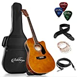 Ashthorpe Full-Size Cutaway Thinline Acoustic-Electric Guitar Package - Premium Tonewoods - Brown
