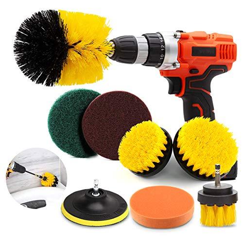 Conthfut Scrub Brush Drill-8Piece DrillBrushAttachmentSet, Scrubber Brush Pads & Sponge Power Car Drill Scrubbing Brush for Bathroom Shower Scrubbing Kitchen & Automobile