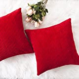 HOME BRILLIANT Decorative Throw Pillow Covers Striped Velvet Corduroy Plush Cushion Cover Set for Holiday, 2 Pack(Red, 18 x 18 inch, 45cm)