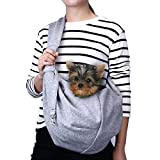 TOMKAS Small Dog Cat Carrier Sling Hands Free Pet Puppy Outdoor Travel Bag Tote Reversible (Gray)