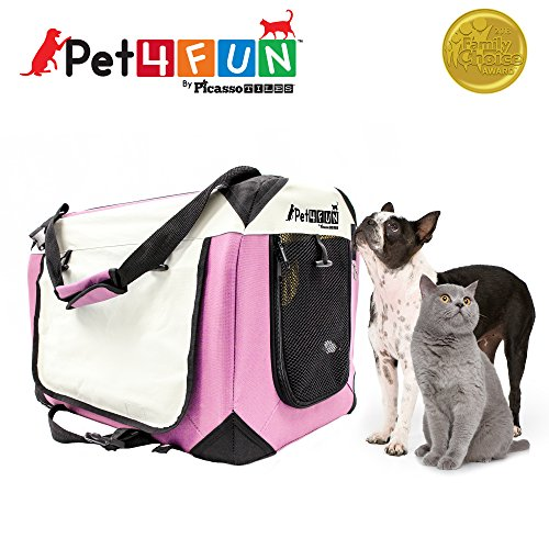PET4FUN® PN950 Foldable Pet Puppy Dog Cat Carrier & Travel Crate w/ Premium 600D Oxford Cloth, Strong Steel Frame, Carry Bag, Locking Zippers, Washable Nap Pad, Airy Windows   3 Size & 3 Colors 1