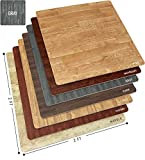 Sorbus Wood Floor Mats Foam Interlocking Wood Mats Each Tile 4 Square Feet 3/8-Inch Thick Puzzle Wood Tiles with Borders - for Home Office Playroom Basement (6 Tiles 24 Sq ft, Wood Grain - Gray)