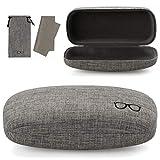 Vemiss Hard Shell Eyeglasses Case Linen Fabrics Large Sunglasses Case Concise (Large, Gray+Gray)