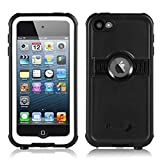 iPod 6 Waterproof Case,3C-Aone Waterproof Case Apple iPod Touch 6th Generation Boys Girls Kids, Better Shockproof Sweatproof, Kickstand Viewing Hands Free (Black)