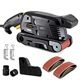 Ginour [ 2 in 1 ] Belt Sander and Bench Sander 5 Amp 3-Inch x 18-Inch, 6 Variable-Speed, Dust Box, 2 Vacuum Adapter, 2 Fixed Screw Clamps, Lock-on Button