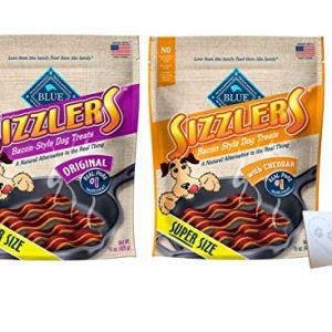 Blue Kitchen Cravings Pork Sizzlers – Two Flavors: Original & Cheddar – Plus Pet Paws Notepad (16oz Each, 32oz Total)