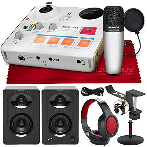 Tascam-US-32-MinStudio-Personal-Audio-Interface-for-Online-PodcastsBroadcasts-and-More-with-Powered-Monitors-Headphones-Microphone-and-Complete-Studio-Accessory-Bundle