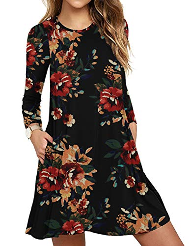 Women's Long Sleeve Pocket Casual Loose T-Shirt Dress