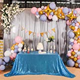 """Eternal Beauty Sequin Tablecloth Overlay Sparkly Rectangle Table Cloth for Wedding, Party, Cake Dessert (60""""x120"""",Turquoise)"""