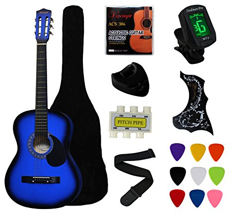 "YMC 38"" Blue Beginner Acoustic Guitar Starter Package Student Guitar with Gig Bag,Strap, 3 Thickness 9 Picks,2 Pickguards,Pick Holder, Extra Strings, Electronic Tuner -Blue"