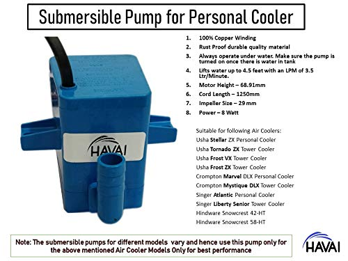 519vR1pqIvL - HAVAI Submersible Pump Big Cooler Suitable for Tower and Personal Coolers (Blue, 4 ft )