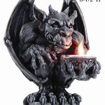 PTC-85-Inch-Gargoyle-Figurine-Cold-Cast-Resin-Candle-Holder-Gray-Color