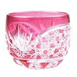 Crystal Sake Cup Edo Kiriko Guinomi Cut Glass Octagon Hakkaku-Kagome Pattern - Pink [Japanese Crafts Sakura]
